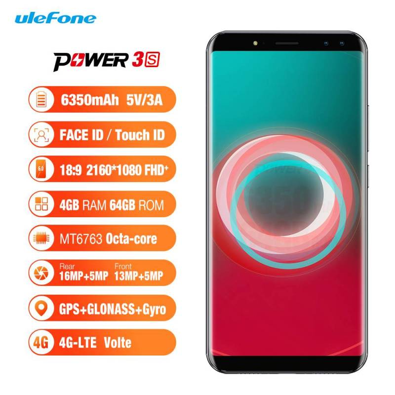 "Movil chino Ulefone Power 3s pantalla 6,0 "" 18:9 FHD procesador MTK6763 Android 7,1 Bateria 6350 mAh"