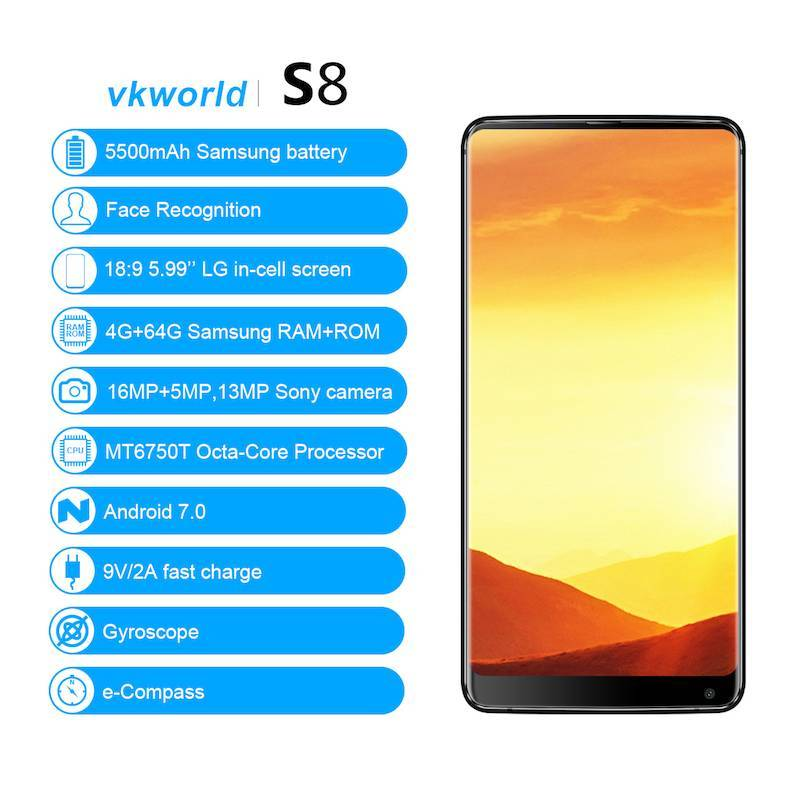 "Movil chino Vkworld S8 4G pantalla 5.99"" FHD bateria 5500 mAh 4GB RAM 64GB ROM 16MP MTK6750T Octa Core"