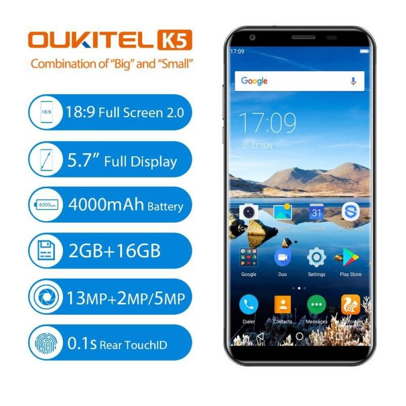 Movil chino Oukitel K5 4G pantalla 5,7 pulgadas 18:9 pantalla MTK6737T Android 7,0 2G 16G Quad Core 4000 mah
