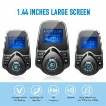 Reproductor para coche MP3 transmisor FM Bluetooth manos libres Kit pantalla 1,44 pulgadas 2.1A USB cargador coche