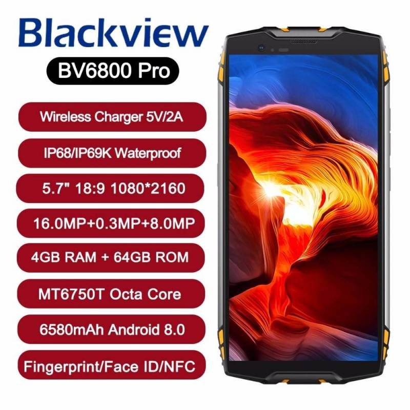 "Movil Blackview BV6800 Pro IP68 impermeable 4 GB + 64 GB pantalla 5,7"" Android 8,0 bateria 6580 mAh NFC"