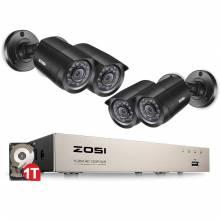 Sistema de video vigilancia 8CH CCTV ZOSI 4 UNIDS 1280TVL Exterior Impermeable 8CH 720 P DVR DaNoc