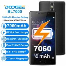 "Movil chino DOOGEE BL7000 4 GB RAM 64 GB ROM Dual 13MP pantalla 5,5"" FHD Android 7,0 MTK6750T bateria 7060mAh"
