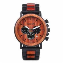 Reloj de madera BOBO BIRD para hombre con visualizador de fecha