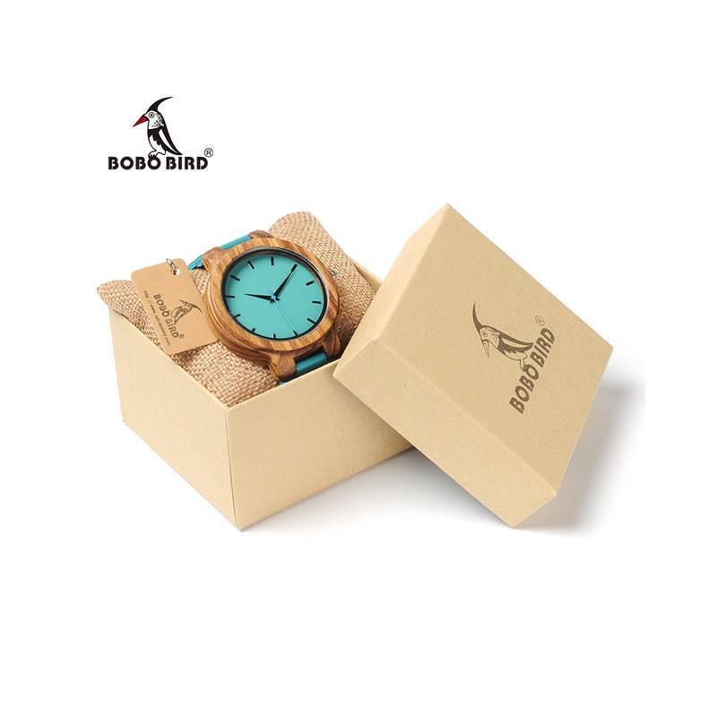 Reloj de madera BOBO BIRD para mujer azul turquesa y correo de cuero
