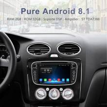 Reproductor multimedia Junsun Android 8.1 GPS 2 Din Car DVD para Ford Focus 2/Kuga 2/S-MAX/Mondeo 4/C-MAX/Galaxy WIFI IPS