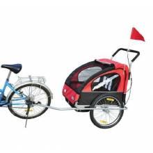 Remolque para niños 2 plazas con amortiguadores carro para bicicleta y Kit de Footing