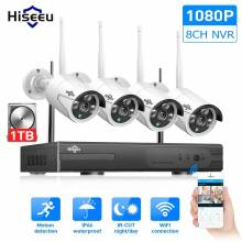 Sistema de video vigilancia Hiseeu 8CH CCTV inalámbrico 1080P 1TB HDD 2MP NVR IP IR-CUT