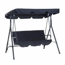 Columpio de jardín de metal con parasol balancín de 3 asientos con cojín y techo ajustable (Negro)