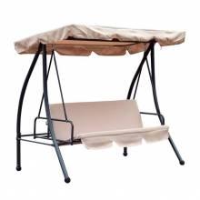 Columpio balancín jardín 3 plazas convertible en cama techo parasol ajustable cojín almohada jardín 200x125x170cm