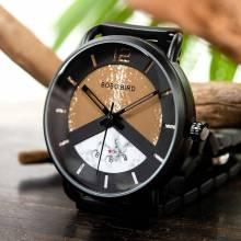 Reloj de madera BOBO BIRD con acero modelo cebra cronógrafo