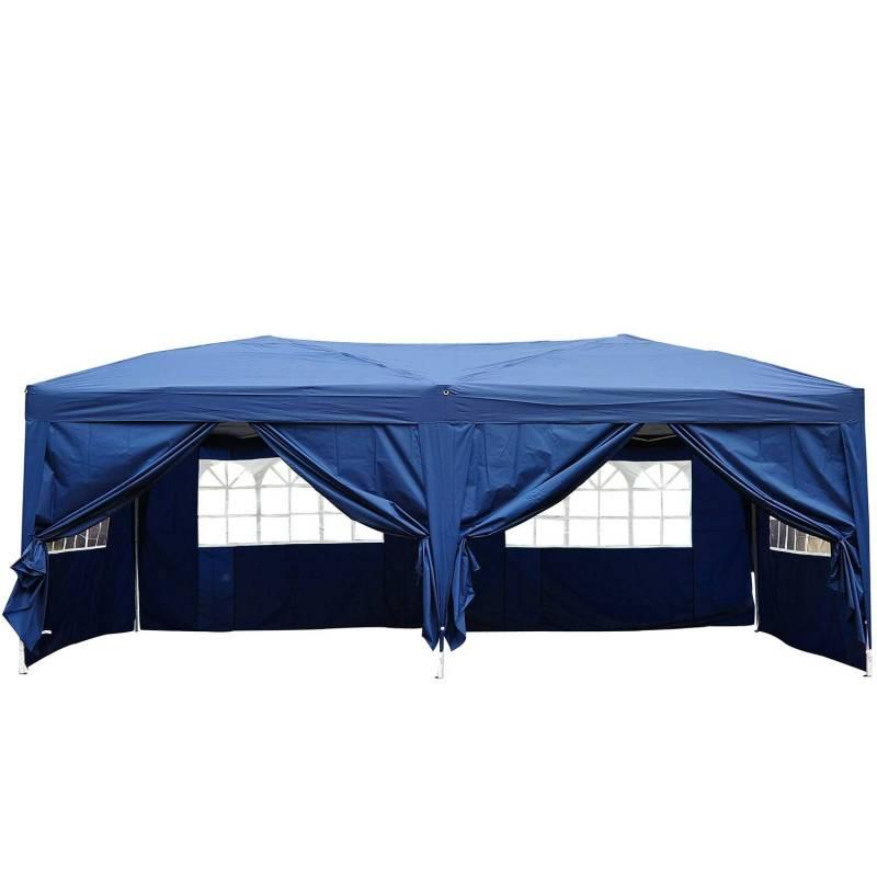 Carpa de 6x3 m plegable en acordeon 4 paneles laterales 2 cortinas + bolsa de transporte