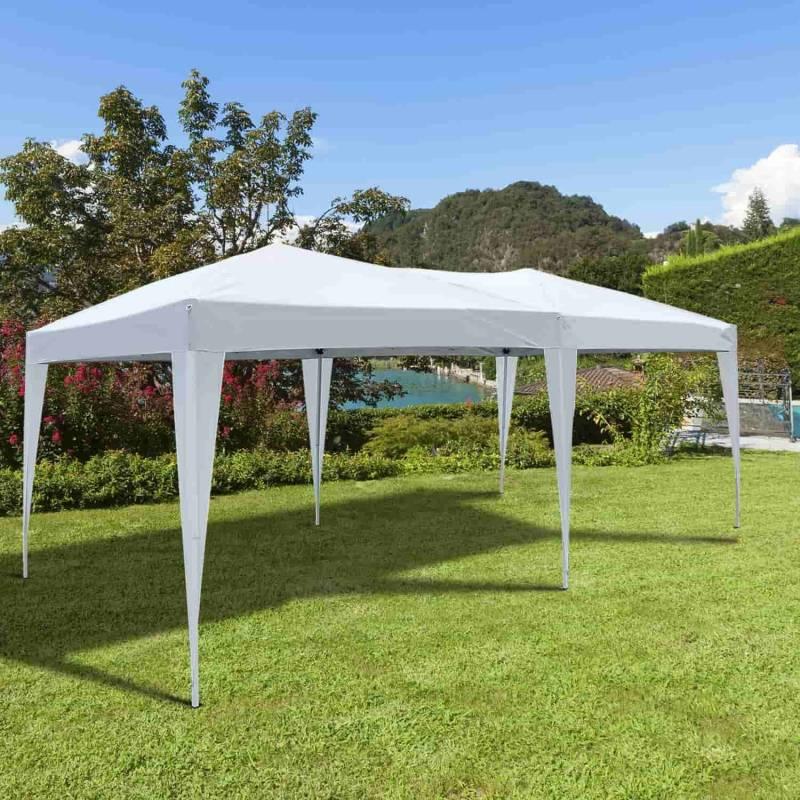 Carpa para terraza jardín en color blanco en poliéster tubos de acero