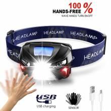 Lampara para cabeza de 10000Lm LED recargable por medio de USB con sensor movimiento