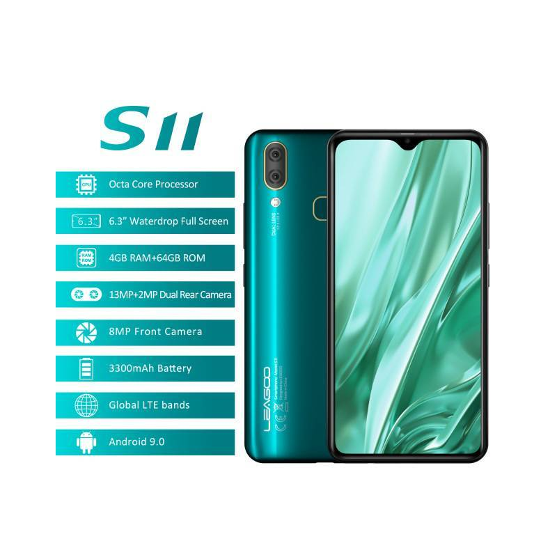 "Movil chino LEAGOO S11 con Android 9,0 64GB ROM pantalla 6,3"" pantalla Helio P22 Octa Core 4G"