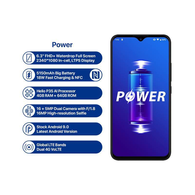 """Movil chino Umidigi power pantalla 6.3"""" 4GB 64 ROM Octa Core Android 9.0 16MP + 16MP NFC 4g Bateria 5150mAh"""