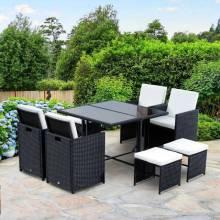 Set de mobiliario para jardín de 9 articulos con cojínes para exterior mesa sillas y taburetes en color negro