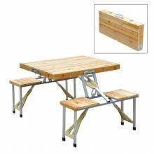 Mesa de madera plegable para camping picnic playa con 4 asientos y agujero de sombrilla