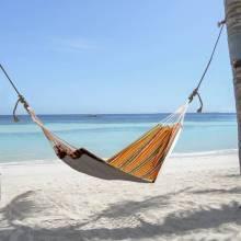 Fantastica Hamaca para poner en el jardín piscina playa o camping en color naranja y 70% de algodon