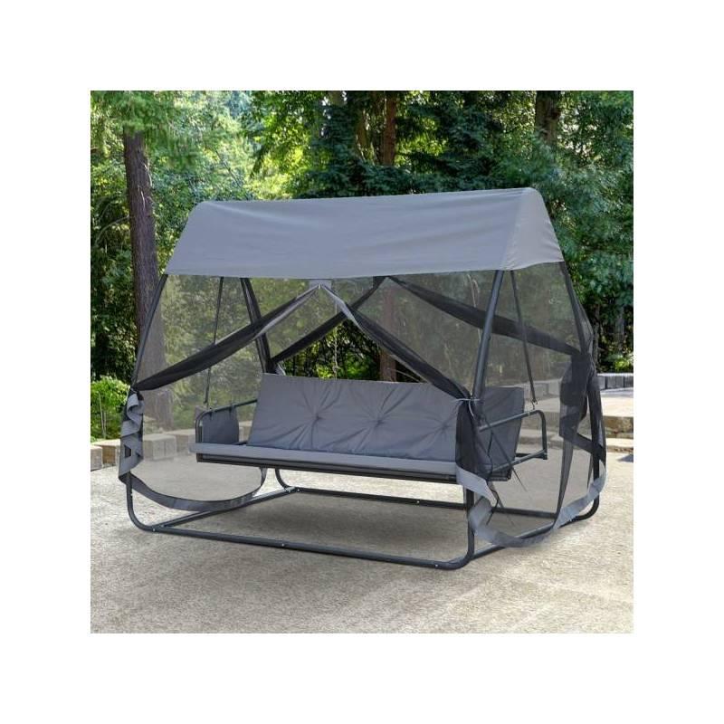 Precioso columpio balancín se convierte en cama para 3 personas con mosquitera