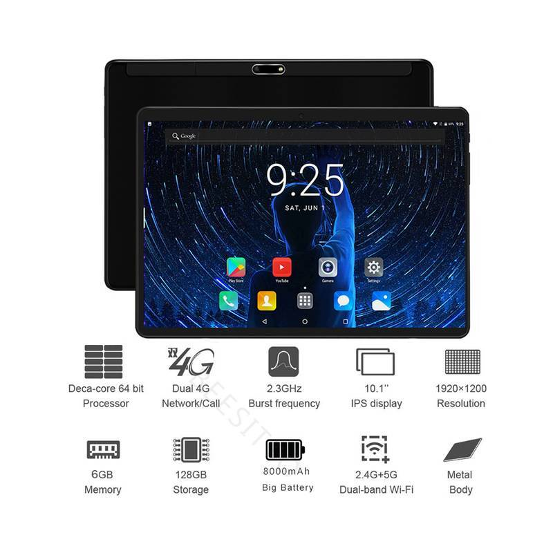 Tablet china 2019 de 10 pulgadas con 4G LTE 6GB RAM 128GB ROM 1920x1200 IPS 2.5D Android 8,1