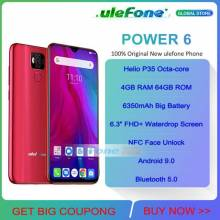 "Movil chino Ulefone Power 6 bateria 6350mAh Android 9,0 Helio P35 Octa Core 4GB RAM 64GB ROM pantalla 6,3 "" NFC 4G"