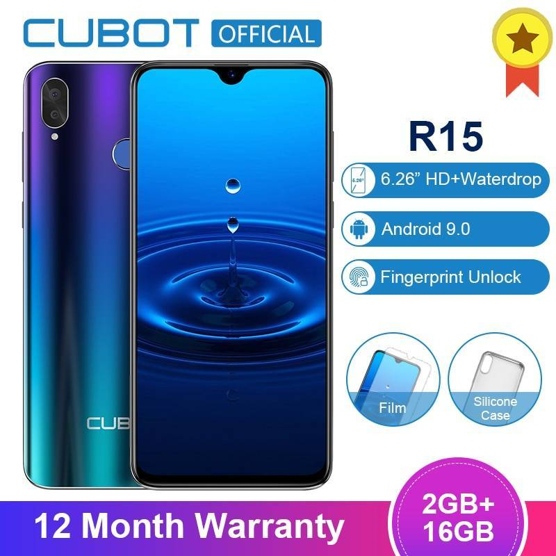 "Movil chino Cubot R15 Android 9,0 19:9 2GB 16GB MT6580P Quad Core pantalla 6,26"""