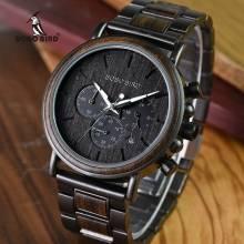 Reloj de madera BOBO BIRD lujo con acero inoxidable cuarzo para hombre