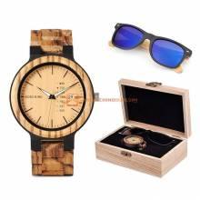 Reloj de madera y gafas BOBO BIRD en un set clásico para hombres ideal regalo