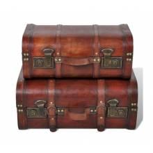 Preciosos baúles cofre en madera estilo vintage en color marrón 2 unidades
