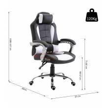 Silla gaming reclinable ergonómica hasta 130° con reposacabezas y cojín