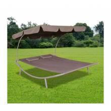 Bonita tumbona doble para jardínes con toldo y cojines en color marrón