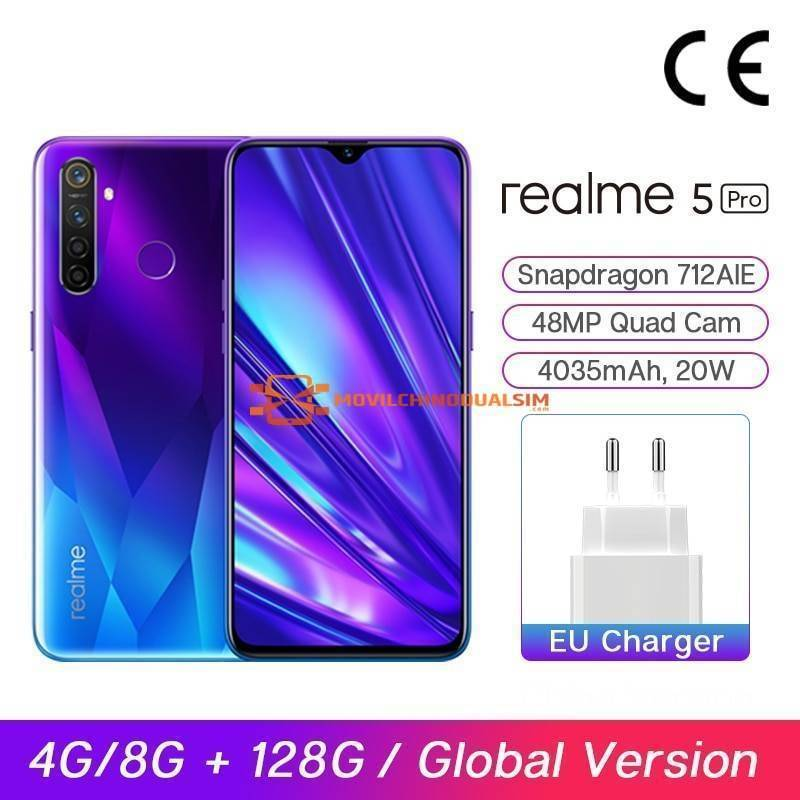 "Movil chino Realme 5 Pro Versión Global 4G/8G 128G Smartphone 712 AIE 48MP Quad cámaras pantalla 6,3"" bateria 4035mAh"