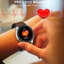 Reloj inteligente LEMFO ELF2 PPG + ECG para hombres pantalla táctil redonda completa 360*360 resolución HD