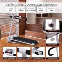 Cinta de Correr Plegable y Eléctrica de 500W para Fitness 1-10Km/h