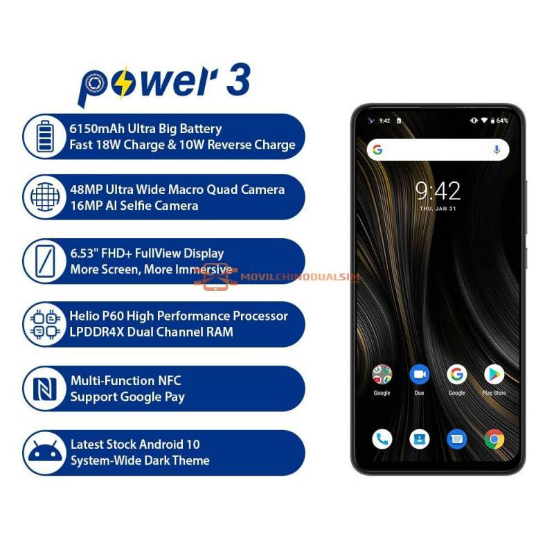 "Movil chino UMIDIGI power 3 con camara de 48MP bateria 6150mAh Android 10 pantalla 6,53"" con 4GB RAM Y 64GB ROM NFC"