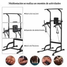 Máquina de Musculación Multiestación 5 en 1 Ejercicios Dip Pull-up Flexiones y Abdominales