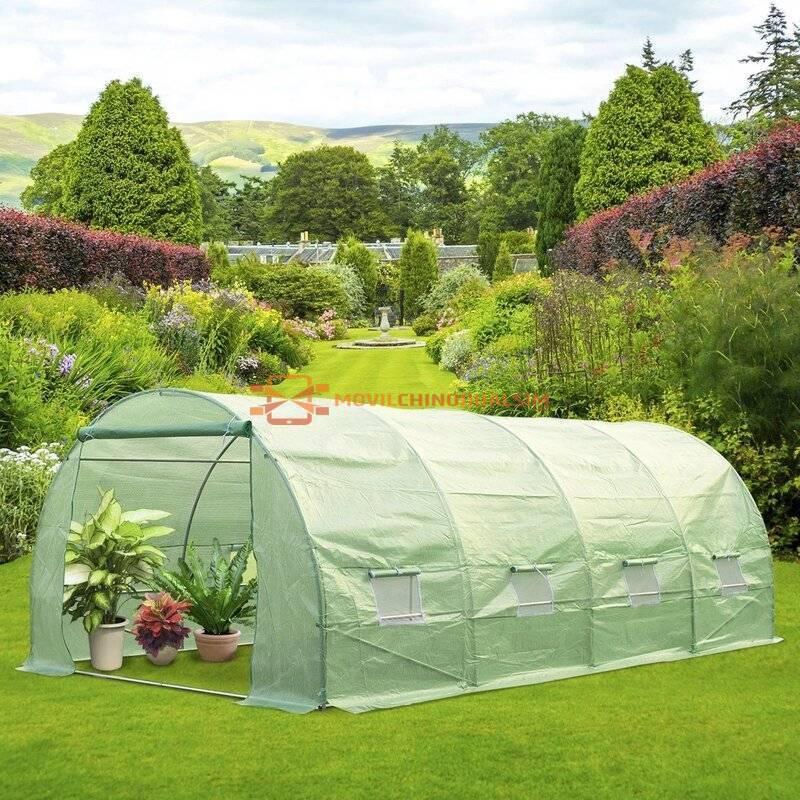 Gran Invernadero de Jardín para Plantas en Color Verde Acero y Polietileno