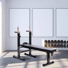 Banco de Pesas Plegable Máquina de Musculación Multifunción Negro Cuero y Acero