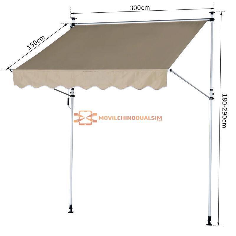 Toldo Portátil Balcón Patio Manual Plegable de Aluminio Altura Ajustable con Manivela