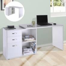 Mesa de escritorio para ordenador con 2 Formas 2 Estantes y 3 Cajones en color blanco