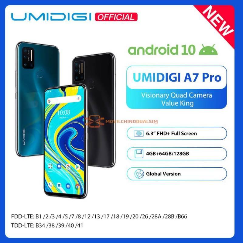 Movil chino UMIDIGI A7 Pro Quad Android 10 OS pantalla 6.3 FHD 64GB o 128GB ROM