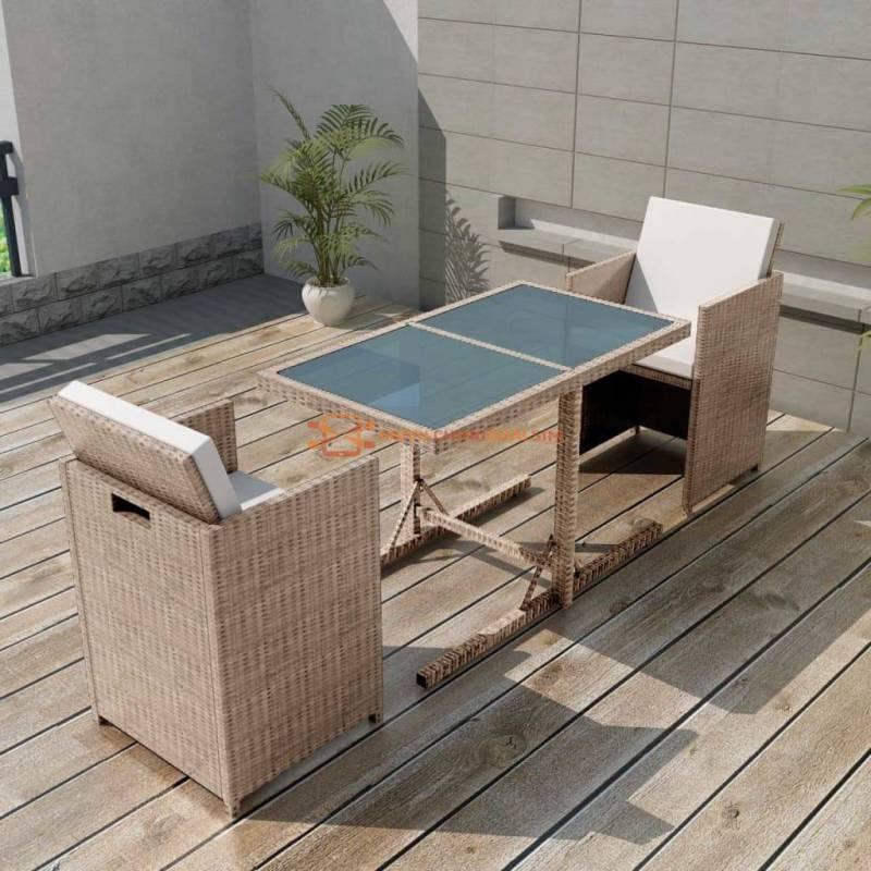 Fantastica Mesa y sillas bistró de jardín 3 pzs y cojines poli ratán beige