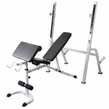 Precioso Banco ejercicios con soporte pesas, pesas y mancuernas 60,5 kg