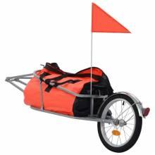 Precioso Remolque de bicicleta para equipaje con bolsa naranja y negro