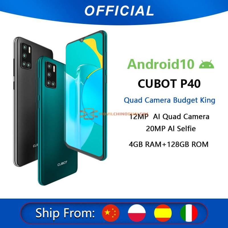 "Movil chino Cubot P40  cudruple camara NFC 4GB 128GB 6.2"" bateria 4200mAh"