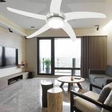 Precioso Ventilador de techo adornado con lámpara 128 cm blanco