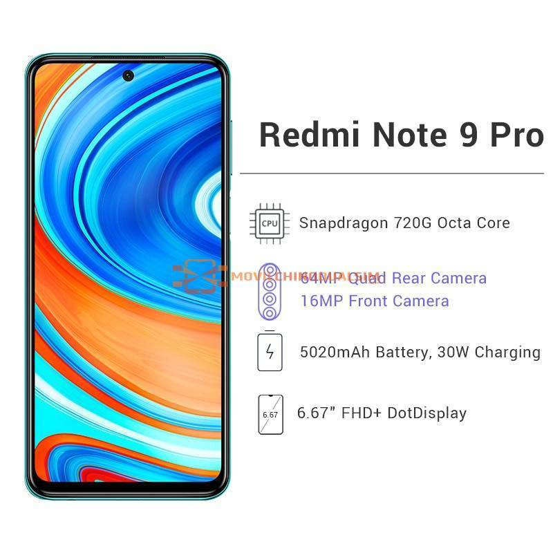 Movil chino Xiaomi Redmi Note 9 Pro 6GB RAM 64GB o 128GB ROM Snapdragon 720G 64MP Version global