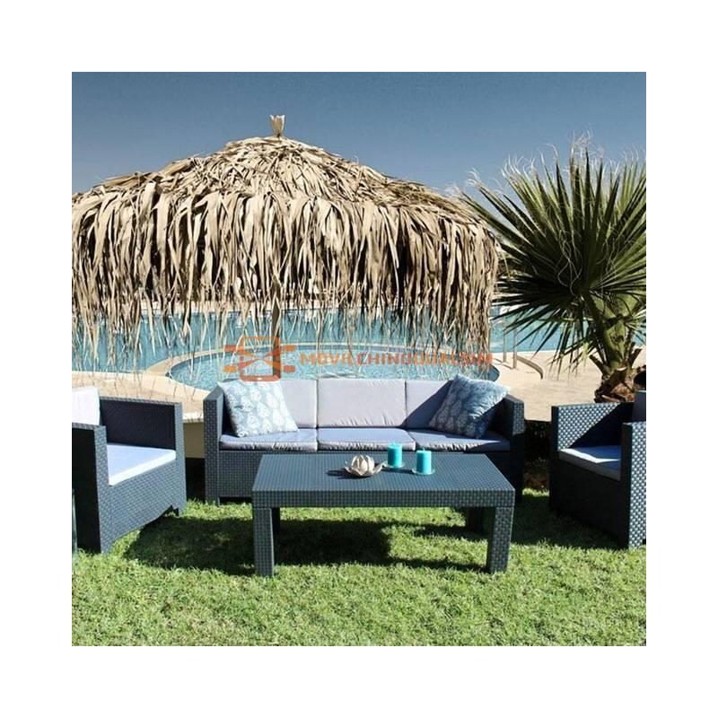 Fantastico Conjunto de jardin con material efecto ratan fácil de combinar con tus muebles de exterior