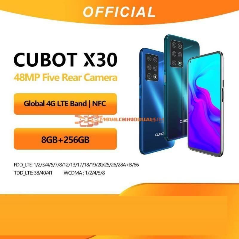Movil chino Cubot X30 de 48MP cinco Camaras 32MP Selfie 6GB 128GB o 8GB  256GB NFC bateria 4200mAh